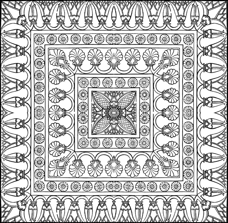 Adult coloring page arab world : Carpet 10
