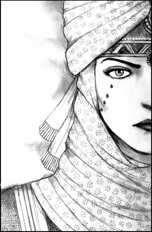 dibujo para colorear relajante mundo arabe   cara mujer