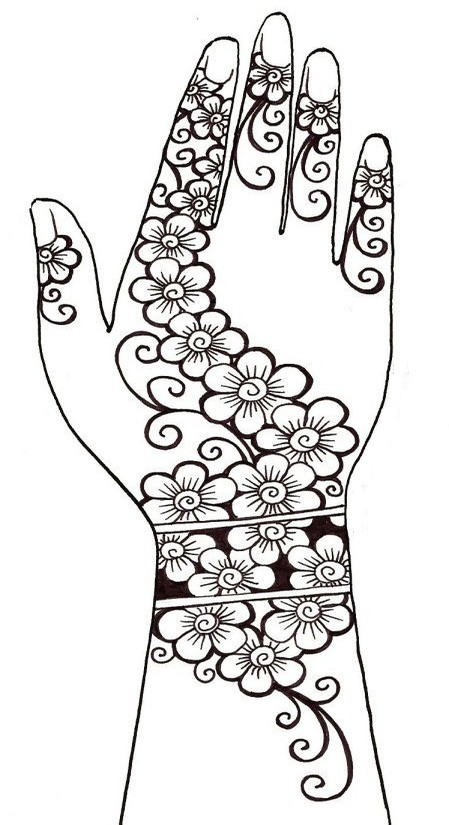 Adult coloring page arab world : Henna tattoo 4