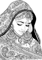 Art Therapy coloring page Arabic woman with festive clothes