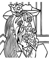 Art Therapy coloring page Weeping Woman