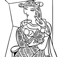 Coloriage anti-stress Femme assise