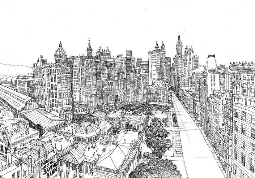 Line Drawing New York City Skyline : Art therapy coloring page new york