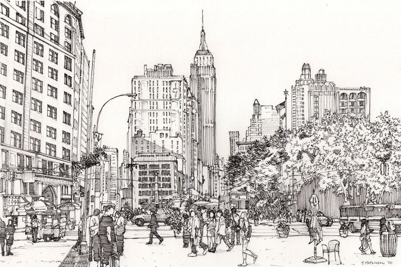 Adult Coloring Page New York Manhattan 10 Kong Coloring Page
