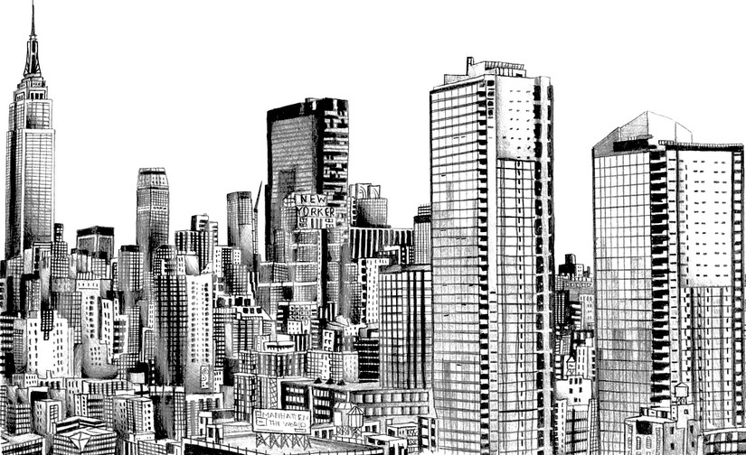 Coloriage adulte new york new york skyline 11 for Disegni new york
