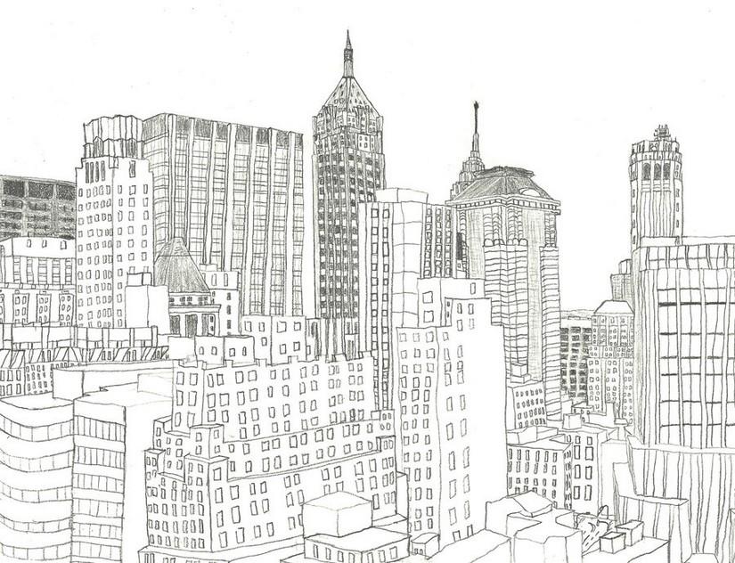 Dibujo para colorear relajante New-York 13