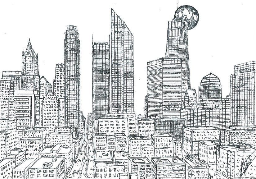 Art Therapy Coloring Page New-York : Manhattan Skyline 16