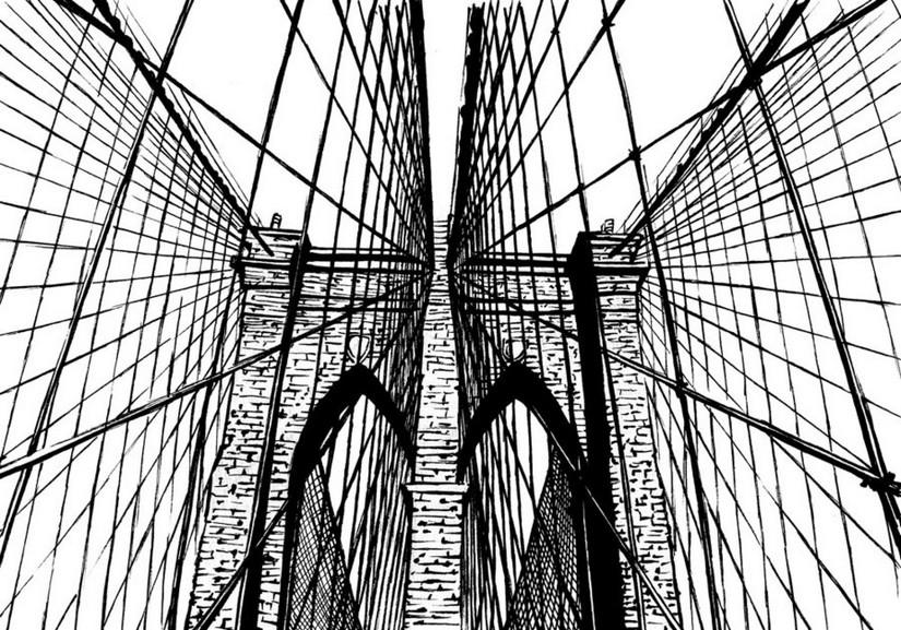 coloriage antistress newyork pont de brooklyn 17