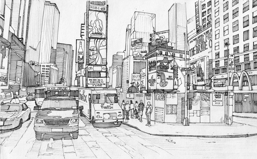 Adult coloring page new york times square 2 for Fun activities for adults in nyc