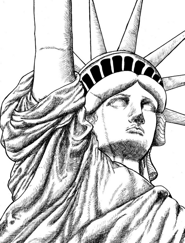 Coloriage anti stress new york statue de la libert 6 for Disegni new york