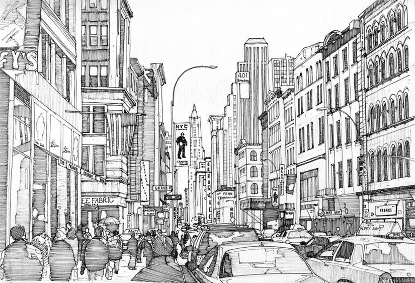 Coloriage adulte new york broadway 9 for Disegni new york
