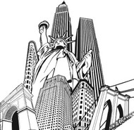Art Therapy coloring page Statue of Liberty and buildings