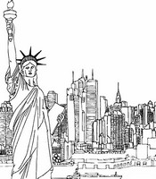 Art Therapy coloring page New-York and Statue of Liberty