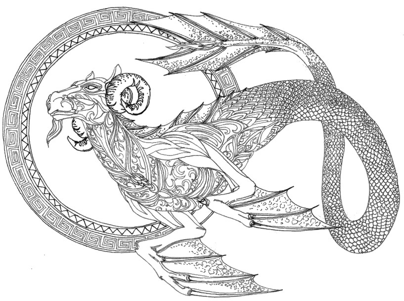 Art Therapy Coloring Page Astrology Capricorn 10