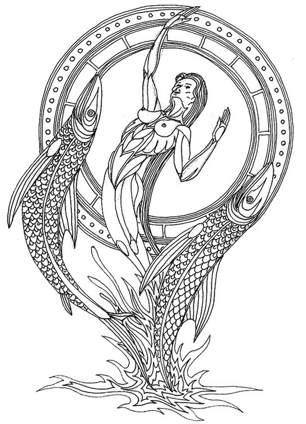 Adult coloring page astrology Pisces 12