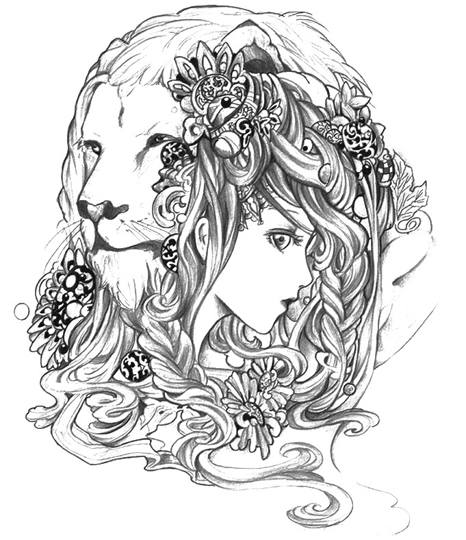 Coloriage anti stress astrologie lion 5 for Leo coloring pages