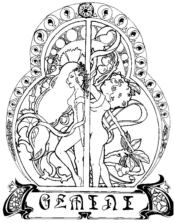 Adult coloring page astrology Gemini 6