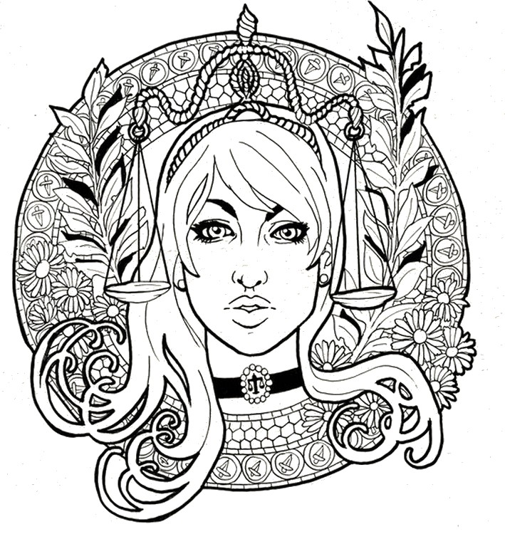 Adult coloring page astrology Libra 8