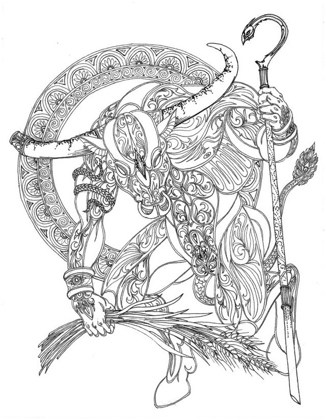 Adult coloring page astrology Taurus 9