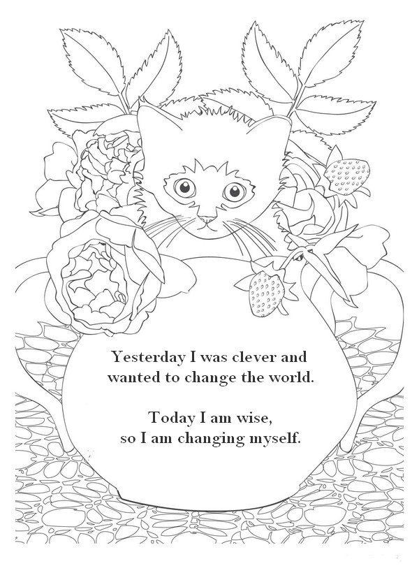 Art Therapy coloring page Zen quotes : Yesterday I was ...