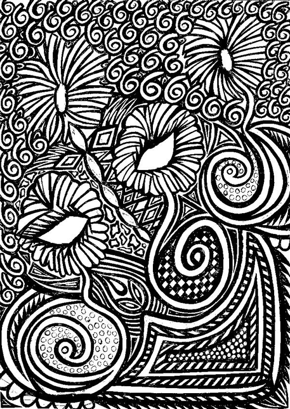 Anti Stress Kleurplaten Aboriginal Kunst Bloemen 6