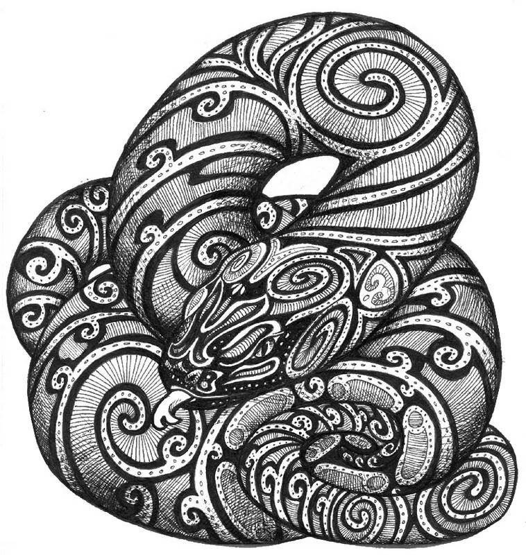 Coloriage anti stress art aborigene serpent 8 - Tete de serpent dessin ...