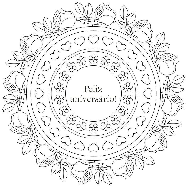 Desenho Para Colorir Anti Stress Aniversario : Feliz