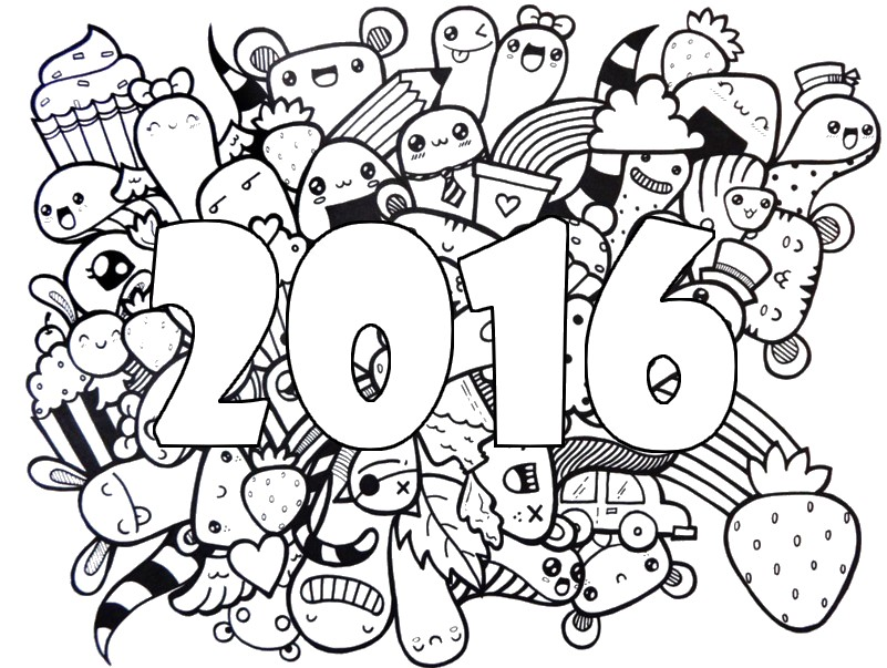 Adult coloring page new year 2016 Wishes For A Happy 2016 5