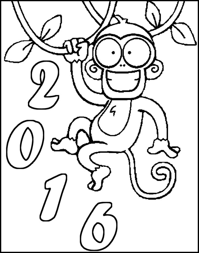 Adult Coloring Page New Year 2016 Year Of The Monkey 2016 7