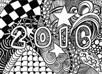 Disegno da colorar antistress Happy New Year 2016