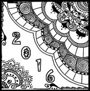 Art Therapy coloring page Happy New Year Card 2016