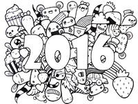 Art Therapy coloring page Wishes For A Happy 2016