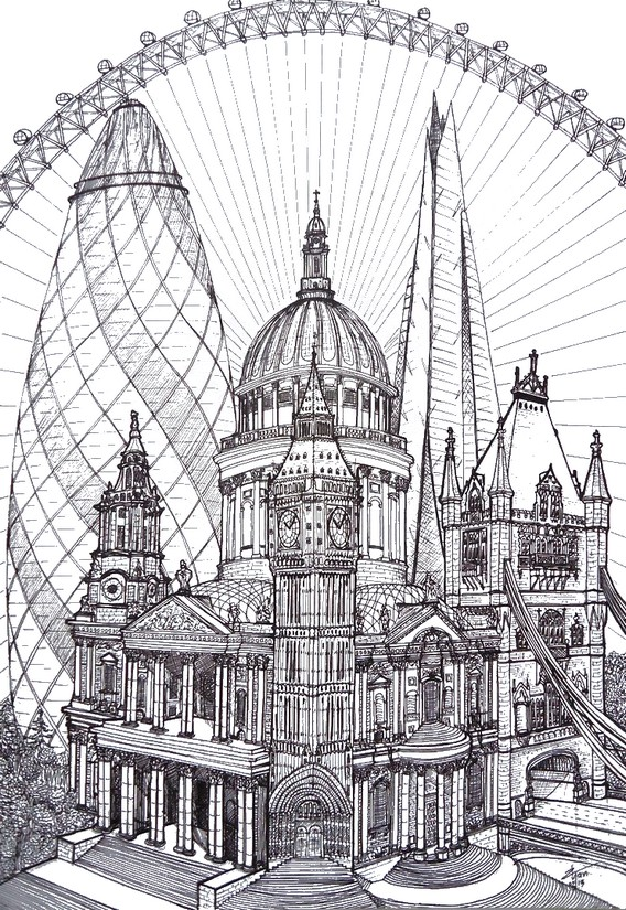 Art Therapy coloring page London : Tower of London 9 | 825x568