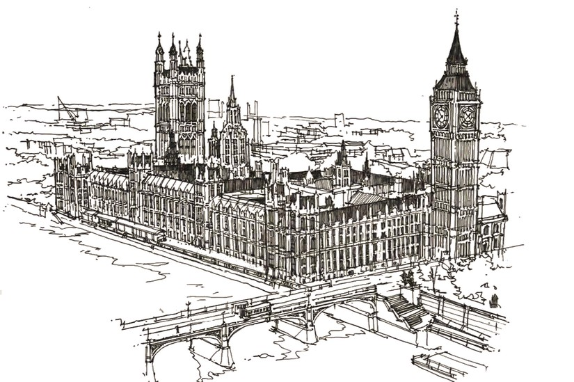 Adult Coloring Page London Westminster And Big Ben 12