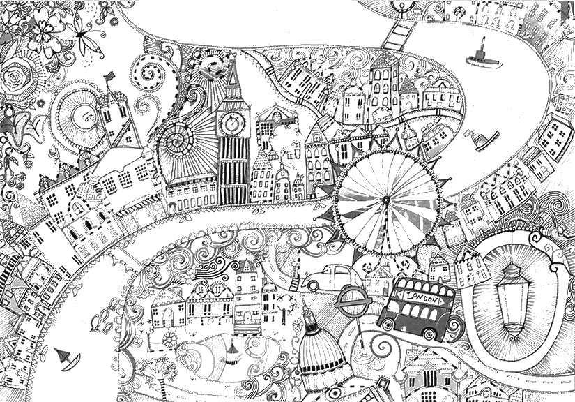 Adult Coloring Page London Thames And 3