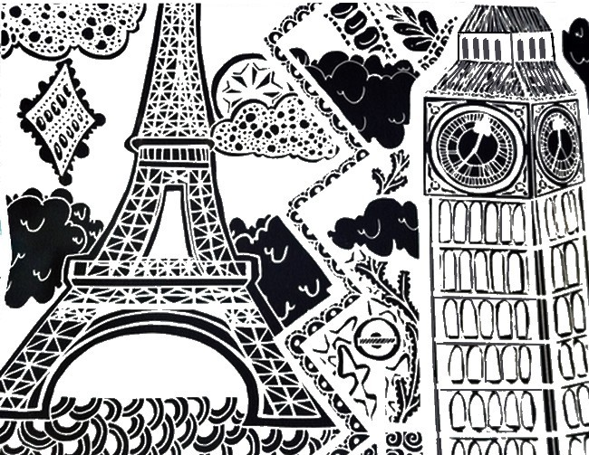 big ben london and eiffel tower paris more coloring pages - Paris Eiffel Tower Coloring Pages