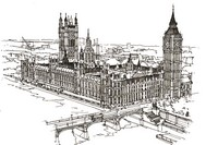Coloriage anti-stress Westminster et Big Ben
