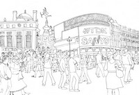 Coloriage anti-stress Piccadilly Circus