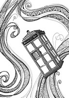 Art Therapy coloring page Red phone box of London
