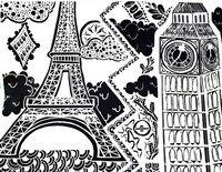 Art Therapy coloring page Big Ben (London) and Eiffel Tower (Paris)