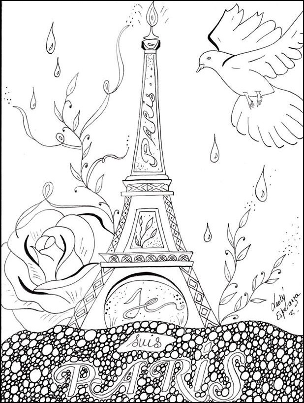 adult coloring page peace for paris - Paris Coloring Book