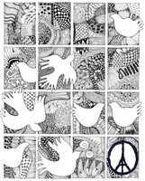 Adult coloring page Doves of peace for Paris