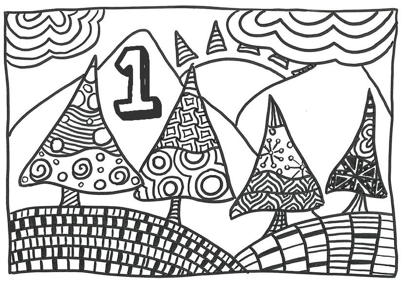 Ausmalen Erwachsene Adventszeit-Kalender : Am 1. Dezember 5