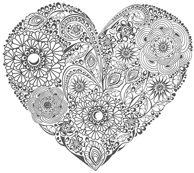 ausmalen als antistress valentinstag  herz mit blumen 1