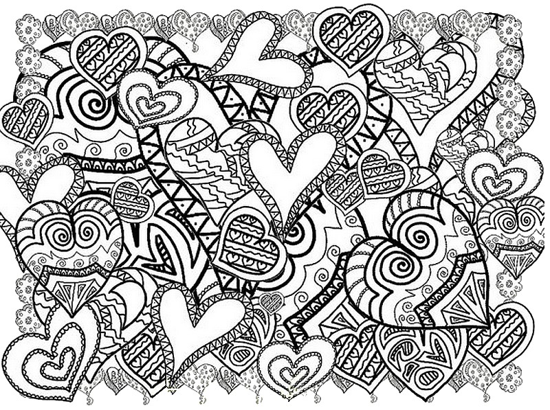 Hearts More Coloring Pages Valentines