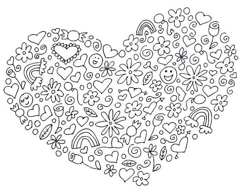 heart st valentines day more coloring pages