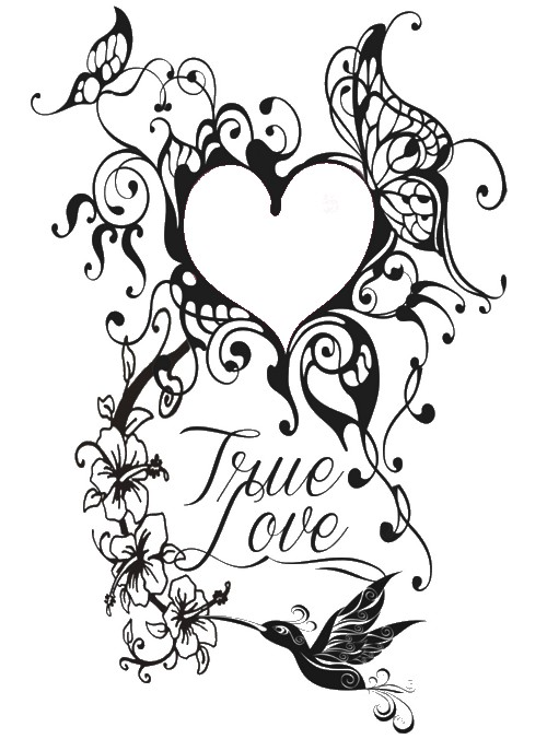 Adult coloring page Valentine\'s Day : Tattoo heart 7
