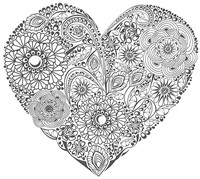 Art Therapy coloring page Heart with flowers