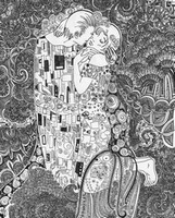 Art Therapy coloring page The kiss (Gustav Klimt)