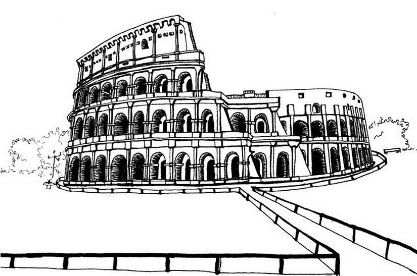 ausmalen als antistress italien  kolosseum 12